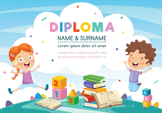 Illustration of preschool kids diploma