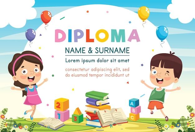 Illustration of preschool kids diploma