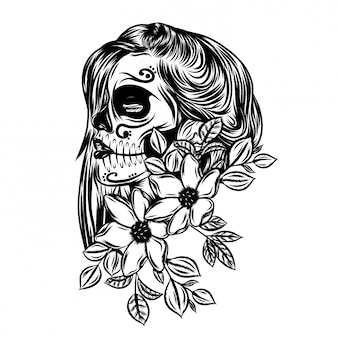 Illustration of pretty day of dead with flower face art