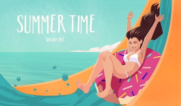 Illustration of pretty girl having fun on water slide at aquapark. summer time illustration