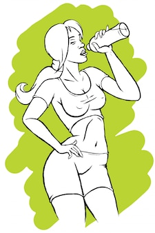 Illustration of a pretty woman drinking water