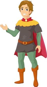 Illustration of prince cartoon waving hand