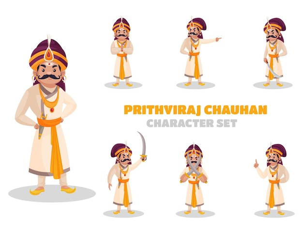 Illustration of prithviraj chauhan character set