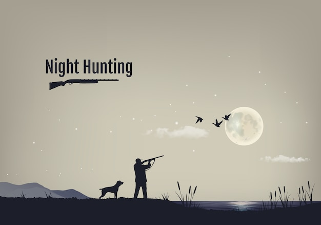 Illustration of the process of hunting for ducks in the night.