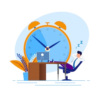 Illustration procrastination time at work cartoon.
