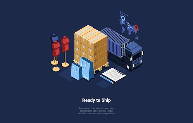 Illustration of products or clothes ready to ship