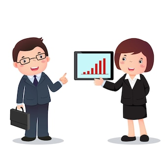 Illustration of profession costume of businessman and   businesswoman  for kids