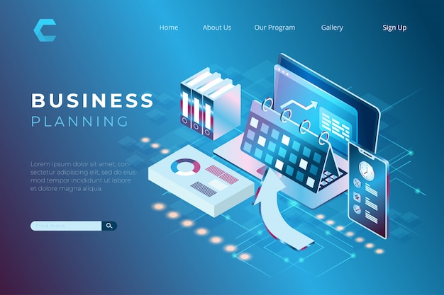 Illustration of profit growth using a business plan, financial audit concept with the concept of isometric landing pages and web headers