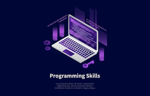 Illustration of programming skills concept