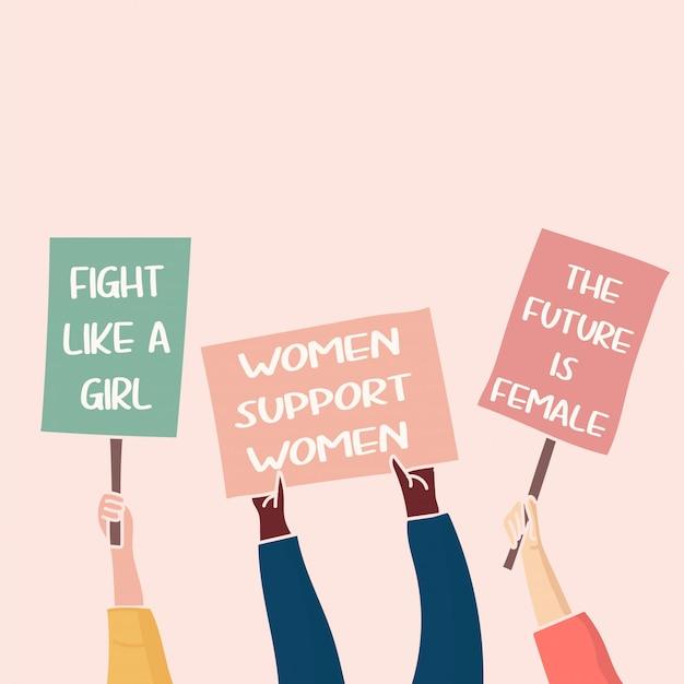 図。ポスターで抗議する人々は彼らの要求を表明します。フェミニストの抗議。