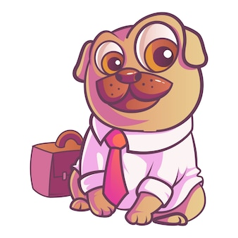 Illustration of pug dog.