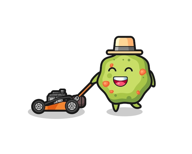 Illustration of the puke character using lawn mower , cute style design for t shirt, sticker, logo element