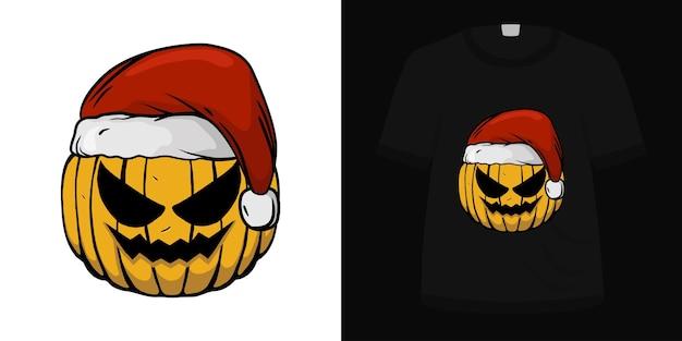 Illustration pumkin santa hat for t shirt design