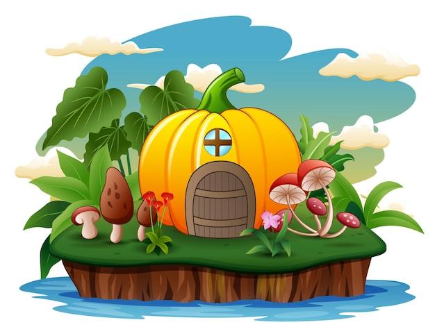 Illustration of an pumpkin house on the island