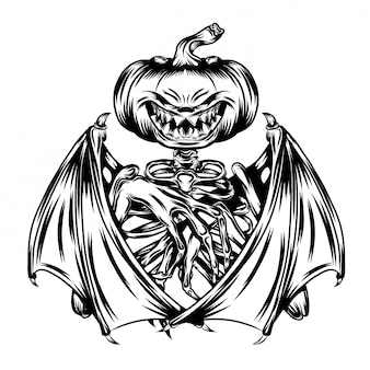 Illustration of pumpkins with bat wings and skull