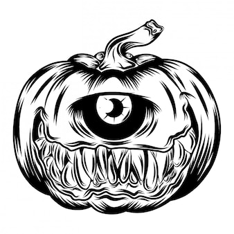Illustration of pumpkins with big one eye
