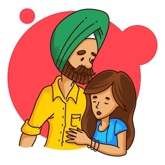 Illustration of punjabi couple hugging each other.