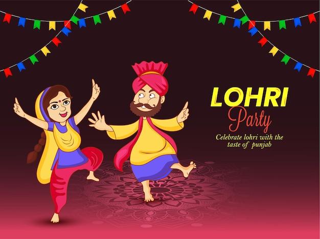 Illustration of punjabi festival happy lohri party vector.