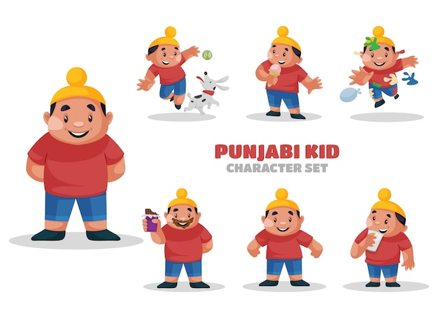 Illustration of punjabi kid character set