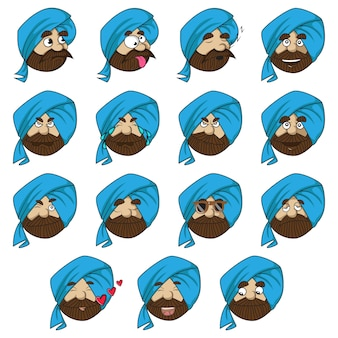 Illustration of punjabi man set.