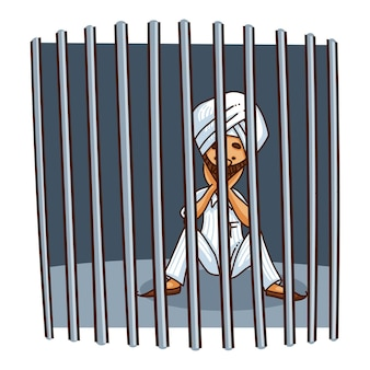 Illustration of punjabi sardar behind the bars .