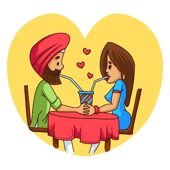 Illustration of punjabi sardar couple in love.