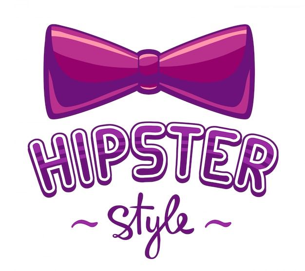 Illustration of purple bow tie and lettering hipster style on white background.