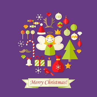 Illustration of purple christmas card with flat icons set and angel