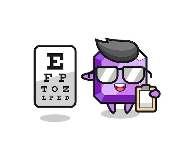 Illustration of purple gemstone mascot as an ophthalmology , cute style design for t shirt, sticker, logo element