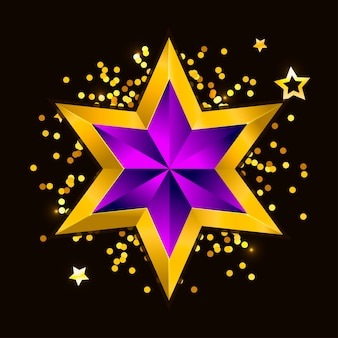 Illustration of a purple gold star on steel background. file new year christmas