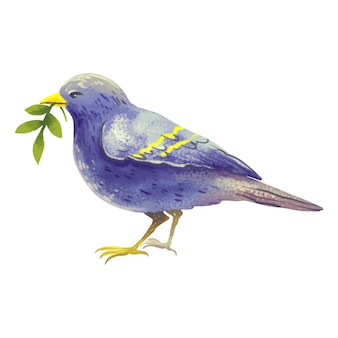 Illustration purple songbird with a green branch inside or just a bird