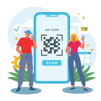 Illustration of qr code scanning concept with characters