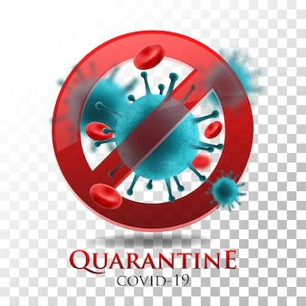 Illustration quarantine covid-19 on transparent background