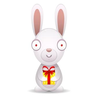 Иллюстрация кролик держит упакованный подарок, формат eps 10