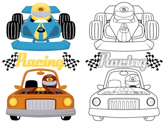 Illustration of race cars