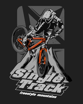 Illustration of a racer going downhill, single track