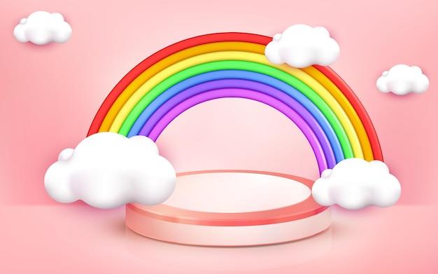 Illustration of rainbow design for kids zone corner background on 3d cartoon style