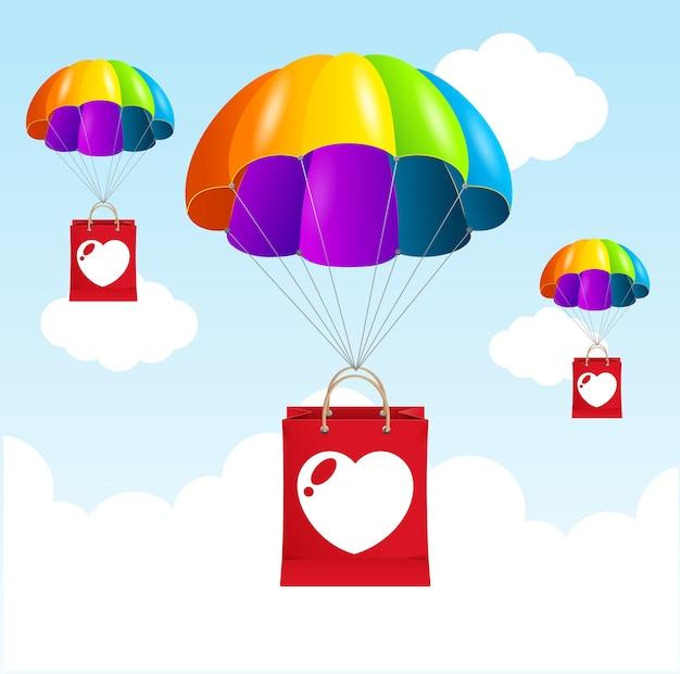 Иллюстрация концепция любви парашют радуги. счастливы вместе