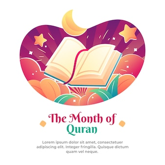 Illustration of the ramadan is the month of the quran