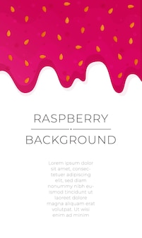 Illustration of raspberry jam background dripping sweet red jam splatter strawberry