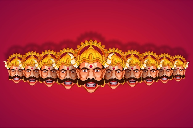 Illustration of ravana from ramayana in happy dussehra festival of india background