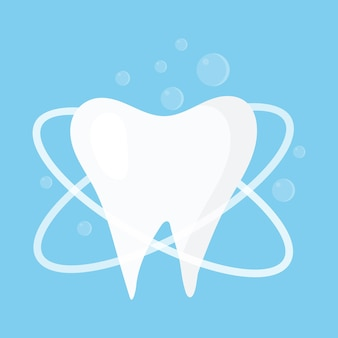 Illustration of a readable healthy tooth teeth cleaning concept