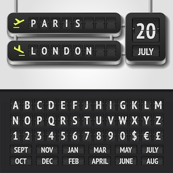 Illustration of realistic airport timetable and scoreboard alphabet