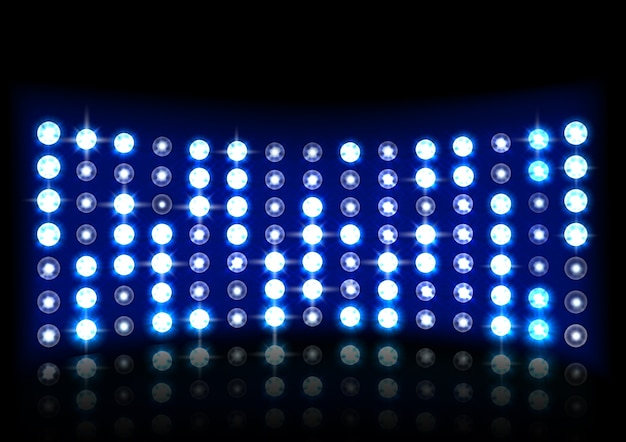 Illustration of realistic blue light stage background