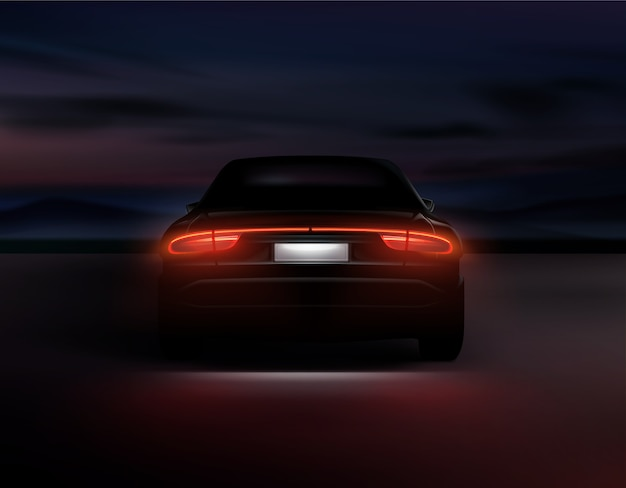 Illustration of realistic car back lights glow in dark night background