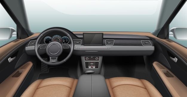 Illustration of realistic car interior with light leather chairs and gray dashboard