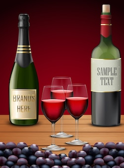 Illustration of realistic champagne bottles