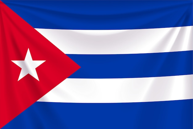 Illustration of realistic flag of cuba with folds