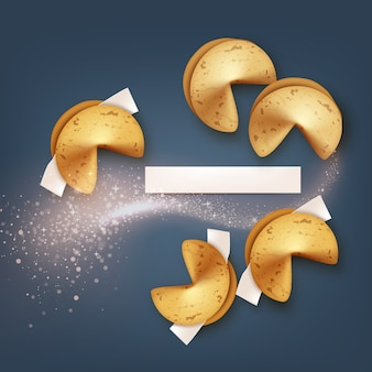 Illustration of realistic fortune cookies with blank paper and sparkling wave