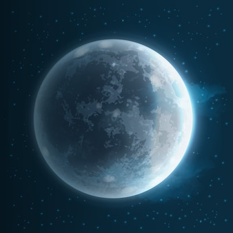 Illustration of realistic full moon in starry sky space background with satellite of earth